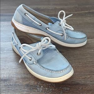 Womens Sperry Top Sider Baby Blue Boat Shoes, Sz 7